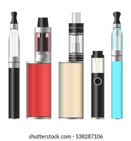 Vape Pen And Box. Electronic Cigarette Set. Colorful Vaporize Box Isolated On White Background. Vector Illustration.