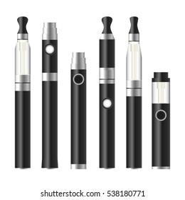 Vape Pen. Electronic Cigarette Set. Metalic Vector E-cigarette Pen Isolated On White Background. Illustration.