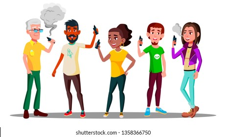 Vape People Vector. Person With Vaporizer Vaping Together. Hipster Addiction. Cloud. Illustration
