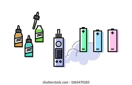 Vape set. Atomizer, bottles with liquids, batteries. Isolated geometric style illustration on white background.