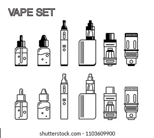 Vape set, e-cigarette minimalist line icons in flat style. Isolated black on white background.