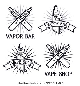 Vape shop and bar logo. Black print on white background. Illustration of Electronic cigarette. E-cig shop logo. Vape trend. Vape shop and bar emblems