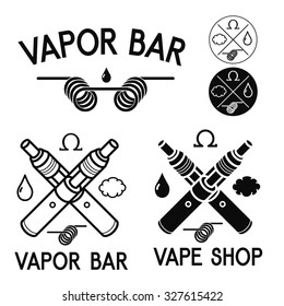 Vape shop and bar logos, black print on white background. Vape vector illustration. Illustration of Electronic cigarette. E-cig iIllustration for vape shop and vape service, e-cigarette store