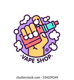 Vape shop cloudy logo vector template in graphic line art style