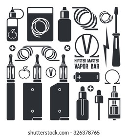 Vape shop and e-cigarette icons. Isolated on white background