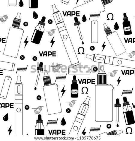 Vape Shop Ecigarette Store Seamless Pattern Stock Vector Royalty