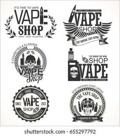 Vape shop labels retro collection