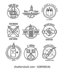 Vape shop labels and vapor bar logo, e-cigarette emblems or badges vector set