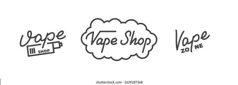 Vape shop. Vape lettering logo badge emblem design