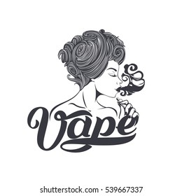 Vape shop logo. Hot girl with electronic cigarette