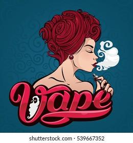 Vape shop logo. Hot girl with electronic cigarette