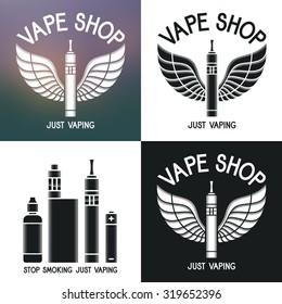 Vape shop logo. Icons e-cigarette and accessories. Isolated on blurred, white, black background. Vape trend. Illustration of Electronic cigarette. E-cig icons set