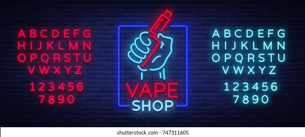 Vape shop neon icon, logo isolated Vector illustration. Neon sign, a night glowing banner selling electronic cigarettes. Editing text neon sign