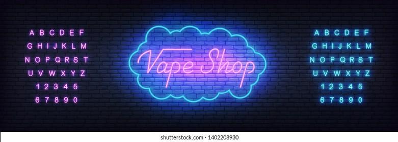 Vape shop neon template. Glowing lettering Vape shop sign.