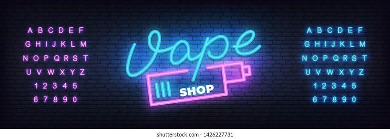 Vape shop neon template. Glowing lettering sign Vape shop