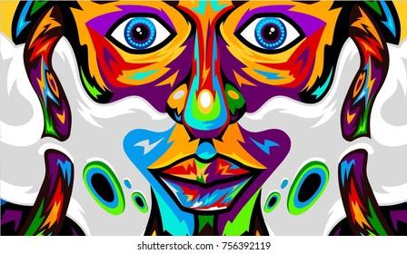 Vape smoke weed colorful hipster rastaman 4:20 vector illustration poster