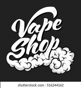 Vape - vintage design element for sign, show-window, flyer, banner, poster. Vector art. Lettering collection.