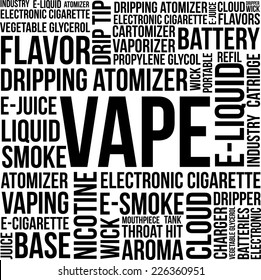 Vape Word Cloud Concept on a white background with terms such as e-cigarette, nicotine, atomizer, e-liquid, smoke and more