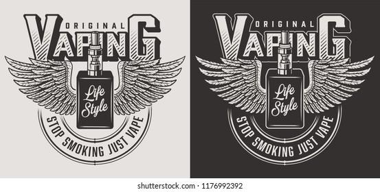 Vaping apparel design with vapor. Vector illustration