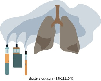 Vaping causes lung disease. E-cigarette, vape, smoke, unhealthy lungs.  Hand drawn vector illustration.