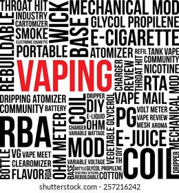 Vaping electronic cigarette Word Cloud theme vector illustration