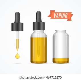 Vaping E-liquid Bottle and Dropper with Droplet. Vector illustration