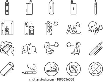 Vaping line icon set. Included the icons as smoking, vapour, vape, electronic cigarette, unhealthy living, and more.