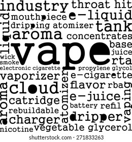 Vaping realted word cloud concept isolated on white background