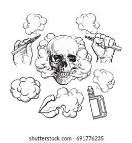 Vaping related elements, symbols - smoke, skull, vaporizer, e-cigarette, black and white sketch vector illustration isolated on background.