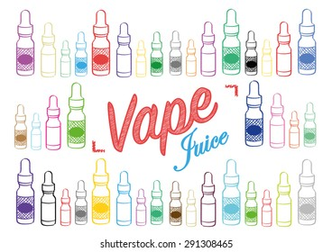 Vaping vape juice sign with illustrations of different coloured vapour bottles vector