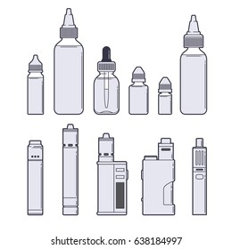 Vaping vector set. Juices and devices outline on white background.