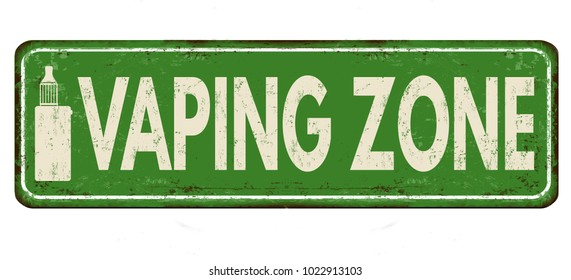 Vaping Zone vintage rusty metal sign on a white background, vector illustration