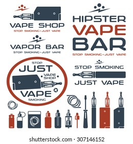 Vapor bar and vape shop logo and e-cigarette icons. Isolated on white background