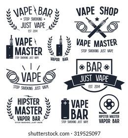Vapor bar and vape shop logo and e-cigarette icons. Isolated on white background