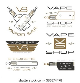 Vapor bar and vape shop logo in thin line style. Color print  on white background