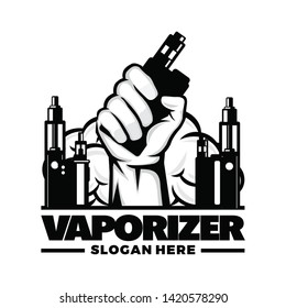 Vapor vaporizer logo template vector illustration