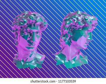 Vaporwave David Sculpture Head Vector 3D Rendering