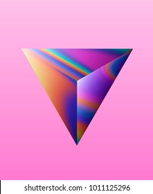 Vaporwave futuristic abstract illustration. Holographic stains on cosmic rock, stone. Triangular polygon, prism. Party flyer, design template, CD music minimalistic cover.