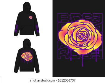 Vaporwave Graphic Design for Hoodie Illustration Rose