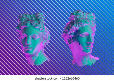 Vaporwave Greek Apollo Head Vector 3D Rendering