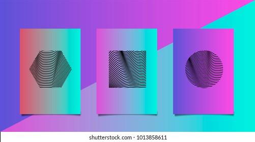 Vaporwave holographic minimal poster set with hexagon, circle, square.