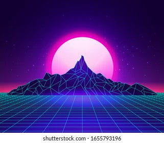Vaporwave laser grid abstract mountains landscape with sunset on background. Synthwave concept. Vector illustration