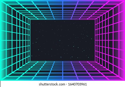 Vaporwave retro futuristic background. Abstract laser grid tunnel in neon colors with glow effect. Night sky with stars. Wallpaper for cyberpunk party, music poster, hackathon meeting.