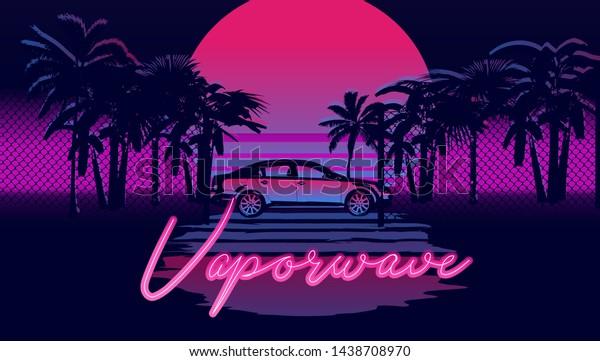 Vaporwave Retrowave Synthwave 80s90s Aesthetics Style Stock