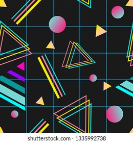 Vaporwave seamless 80's style pattern with geometric shapes. Colorful background with shapes, gradients and text.