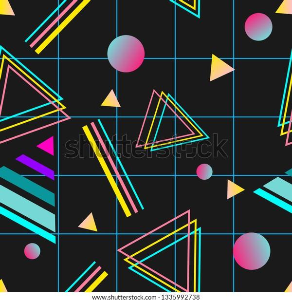 Vaporwave Seamless 80s Style Pattern Geometric Royalty Free
