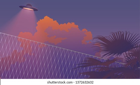 vaporwave sky and palm tree landscape and ufo fly pass by, nostalgic / aesthetic feeling, soft pastel neon gradient background template