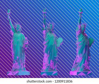 Vaporwave Statue of Liberty Set, New York landmark, American symbol Vector 3D Rendering