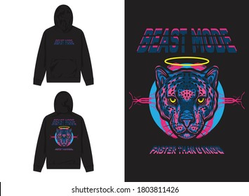 Vaporwave Streetwear Hoodie Purple Leopard With Yellow Ring Illustration, Beast Mode, Faster Than You Know