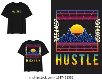 Vaporwave Streetwear T-shirt Mountain Geometric Style, Dreamer